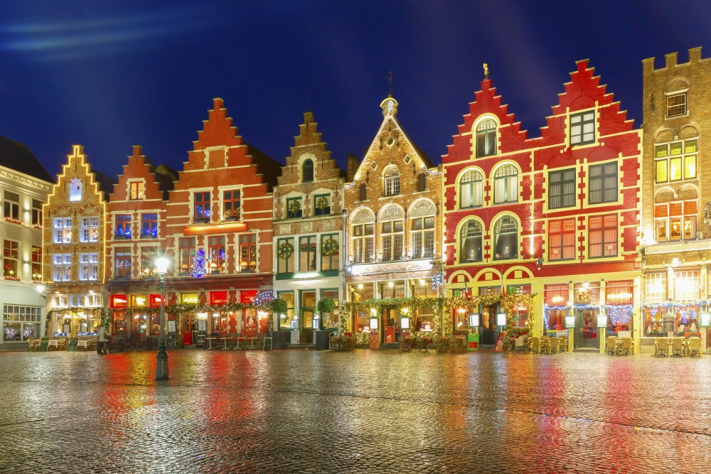 Christmas Decorated and illuminated Old Markt square in the center of Bruges, Belgium