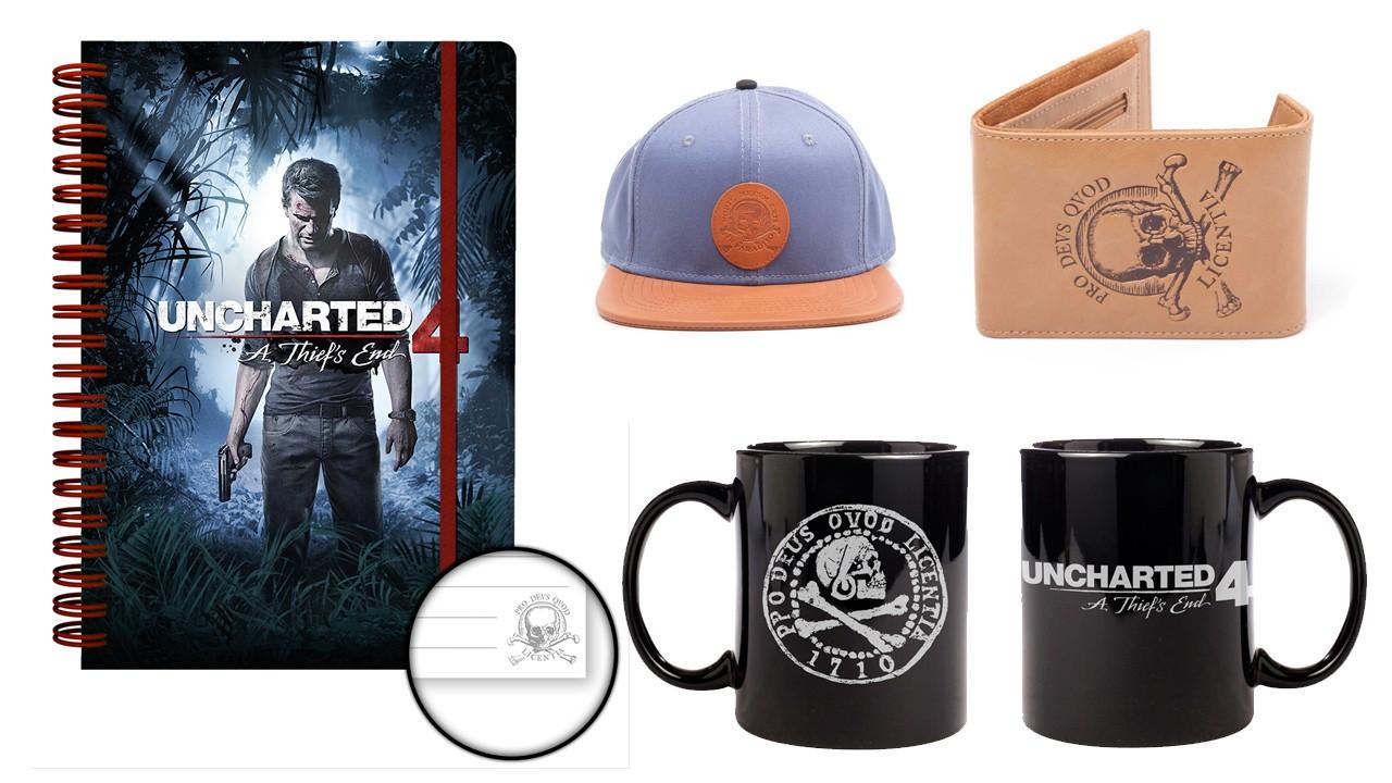 merchandising oficial de Uncharted 4 - Cuaderno, gorra, taza y cartera