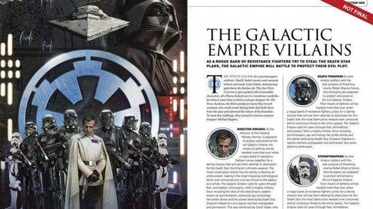 Darth Vader se suma a Rogue One: Una historia de Star Wars, según revela la guía de la película.