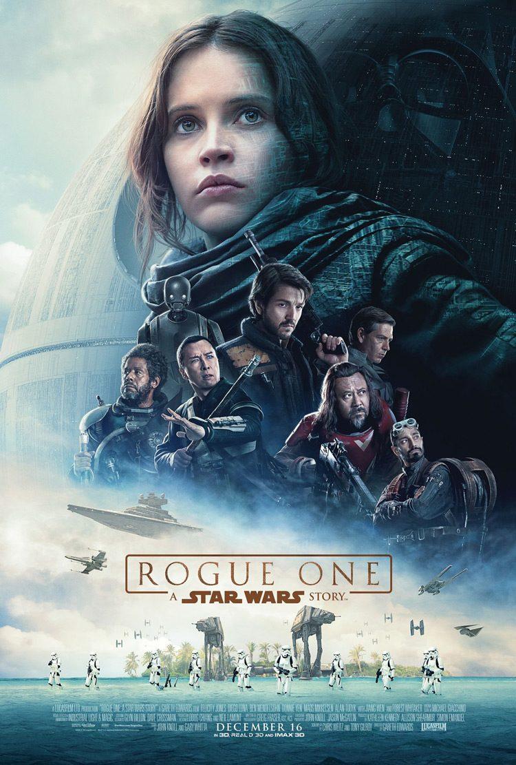 Felicity Jones protagoniza el nuevo póster de Rogue One junto a Darth Vader en las sombras.