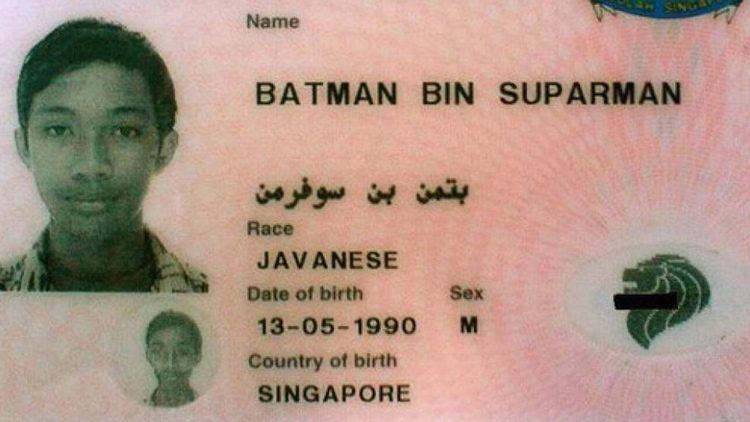 Los 10 nombres de personas más raros del mundo: Batman Bin Suparman