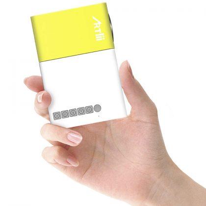 proyector portátil blanco y amarillo